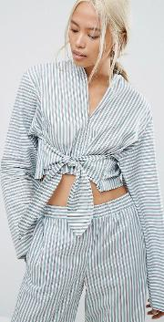 House Of Sunny , Pyjama Style Shirt With Tie Front In Stripe Co Ord