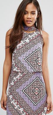 Influence Tall , Dress With Cut Out Back  Scarf Print