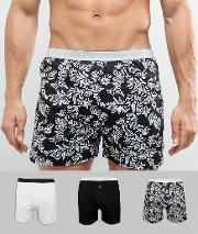 Asos , Jersey Boxer In Baroque Print 3 Pack Save