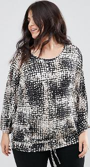 Koko , Cold Shoulder Abstract Print Tie Front Blouse