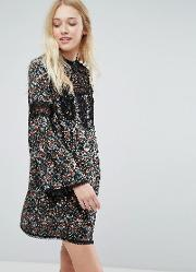 Liquorish , Floral Smock Dress With Lace Inserts