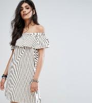 Noisy May Tall , Off Shoulder Striped Mini Dress