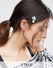 Asos , Pack Of 2 Embellished Hair Clips