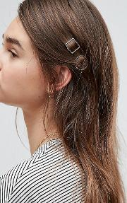 Asos , Pack Of 2 Mini Open Shapes Hair Clips