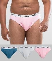 Asos , Plus Briefs With Branded Waistband In Pink Blue & Grey 3 Pack