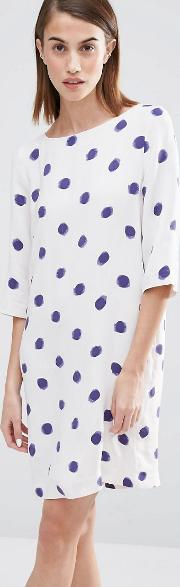 Selected , Fria Spot Print  Sleeve Dress