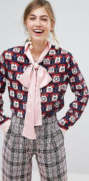 Sister Jane , Blouse With Bow In Telephone Print