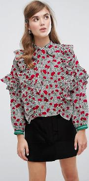 Sister Jane , Bow Blouse With Sporty Trim In Floral Spot