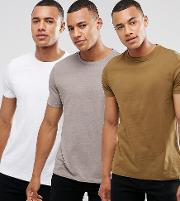 Asos , T Shirt With Crew Neck 3 Pack Save
