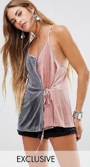 Young Bohemians , Cami Top With Contrast Wrap Front