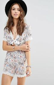 Young Bohemians , Playsuit With Tie Front And Lace Trim Hems