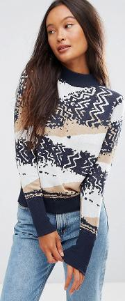 Shae , Cotton Abstract Knit Jumper