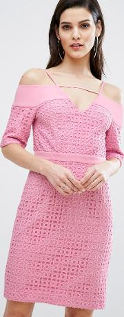 8th Sign , The Lace Cold Shoulder Midi Dress