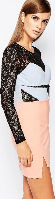 8th Sign , The Lace Sleeve Mini Dress With Contrast Bust And Skirt