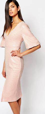 8th Sign , The Luxe Plunge Neck Pencil Dress In All Over Sequin