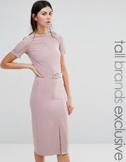 Alter Tall , Belted Pencil Dress With Split Front Detail