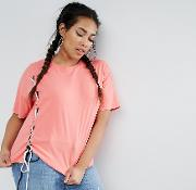 Asos Curve , T Shirt With Contrast Lace Up Details