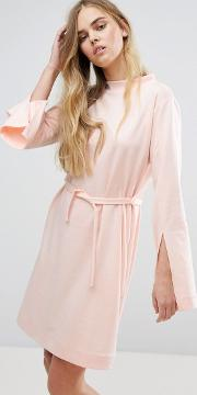 House Of Sunny , Extra Long Sleeved Dress With Tie Waist