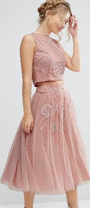 Lace And Beads , Lace & Beads Tulle Skirt With Floral Embellishment Co Ord