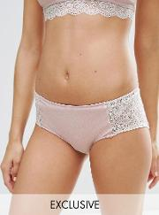Monki , Lace Trim Contrast Hipster Brief