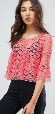 Qed London , Scallop Lace  Line Top