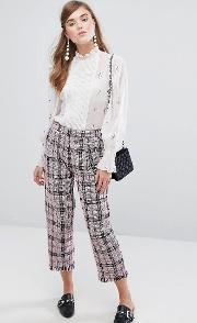 Sister Jane , Cropped Trousers In Tweed Check