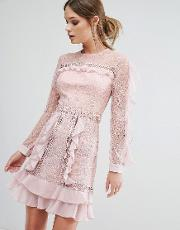 True Decadence , Ruffle Sleeve Mini Dress With Sheer Panels