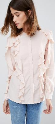 Warehouse , Ruffle Blouse