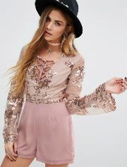 Young Bohemians , Playsuit With Delicate Floral Sequin