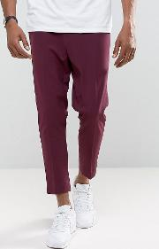 Asos , Tapered Cropped Trousers In Wine