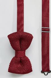 7x , Knitted Bow Tie Burgandy In Box