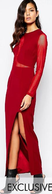 8th Sign , The Swirl Mesh Inset Maxi Dress With Deep Thigh Split
