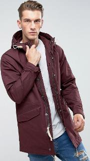 Abercrombie & Fitch , Hooded Parka  In Burgundy