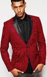 Antony Morato , Dogtooth Blazer With Faux Leather Lapel In Slim Fit