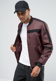 Asos , Bomber With Tape Detail In Burgundy