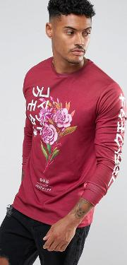 Hype , Long Sleeve T Shirt In Burgundy With Japanese Floral Print