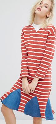 I Love Friday , Stripe Dress With Denim Insert Hem