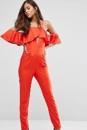 Influence Tall , Jumpsuit With Cold Shoulder And Ruffles