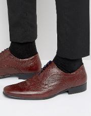 Red Tape , Etched Brogues In Burgundy Leather