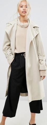 House Of Sunny , Longline Trench Coat With Yoke Back Detail