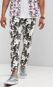 Asos , Skinny Cropped Trousers With Palm Tree Print