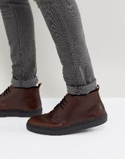 Fred Perry , Hawley Mid Leather Desert Boots In Dark Brown