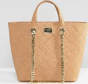Marc B , Quilted Tote Bag With Chain Detail