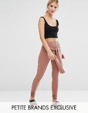 One Day Petite , Legging With Wrap Front Detail