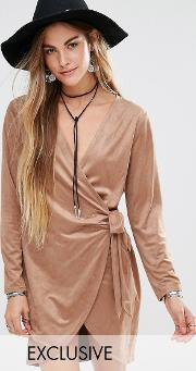 Young Bohemians , Wrap Front Dress In Soft Velvet