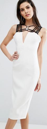 8th Sign , The Neck Detail Contrast Midi Dress