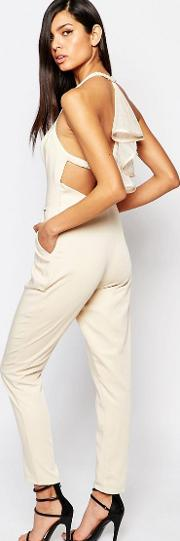 8th Sign , The Plunge Tailored Jumpsuit With Ruffle Detail