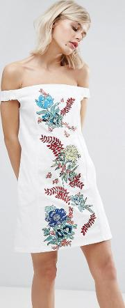 House Of Holland , Embroidered Cotton Drill Dress