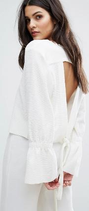 House Of Sunny , Open Tie Back Top With Flare Cuff