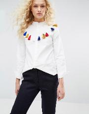 I Love Friday , Shirt With Tassel Detail